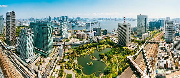 Aerial Panoramic of Tokyo Skyline stock photo