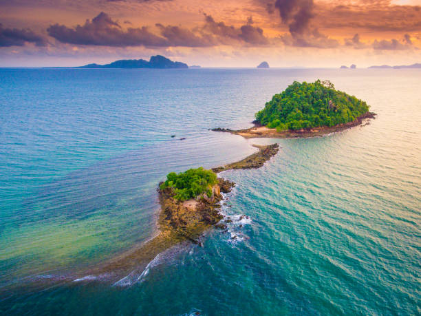 aerial panoramic sea view and coastline in south thailand - phuket stock photos and pictures