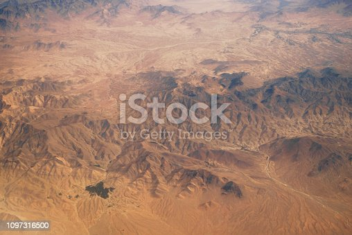 Aerial view at sandy canyons in the desert from airplane above Pakistan. Geological surface structures of planet earth. No people. XXXL (Sony Alpha 7R)