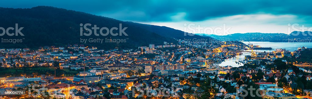 Aerial panoramic view Cityscape of Bergen and harbor from mounta stock photo