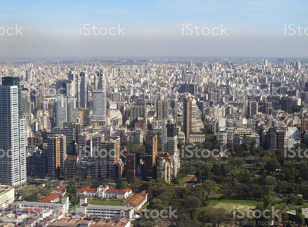 Aerial panoramic view of Buenos Aires, Argentina stock photo