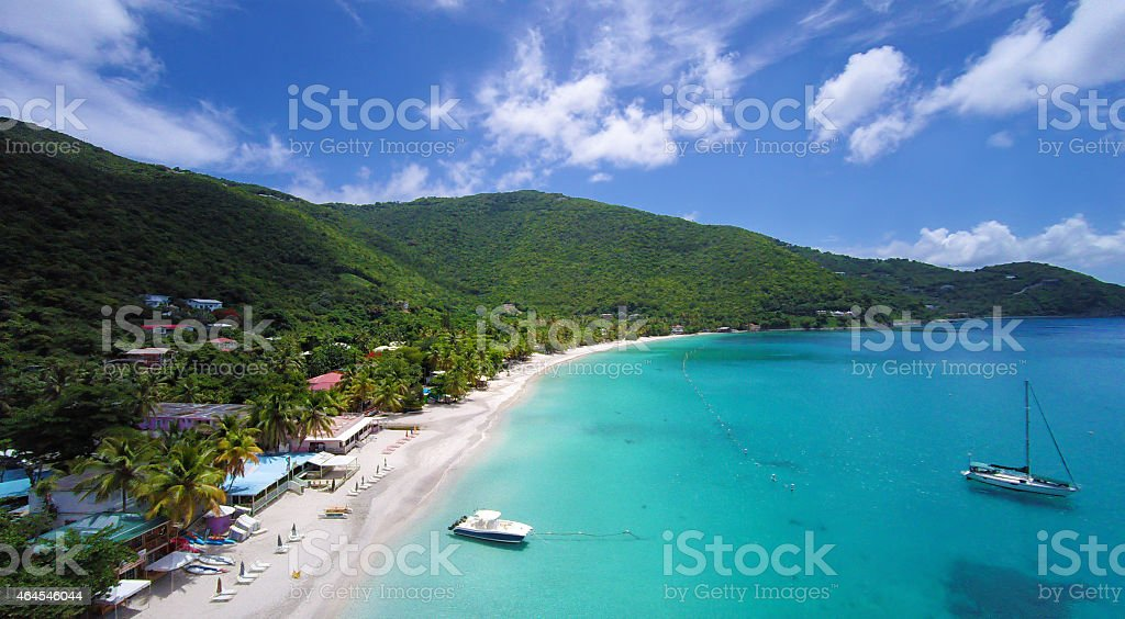aerial panoramic view of Cane Garden Bay, Tortola, BVI stock photo