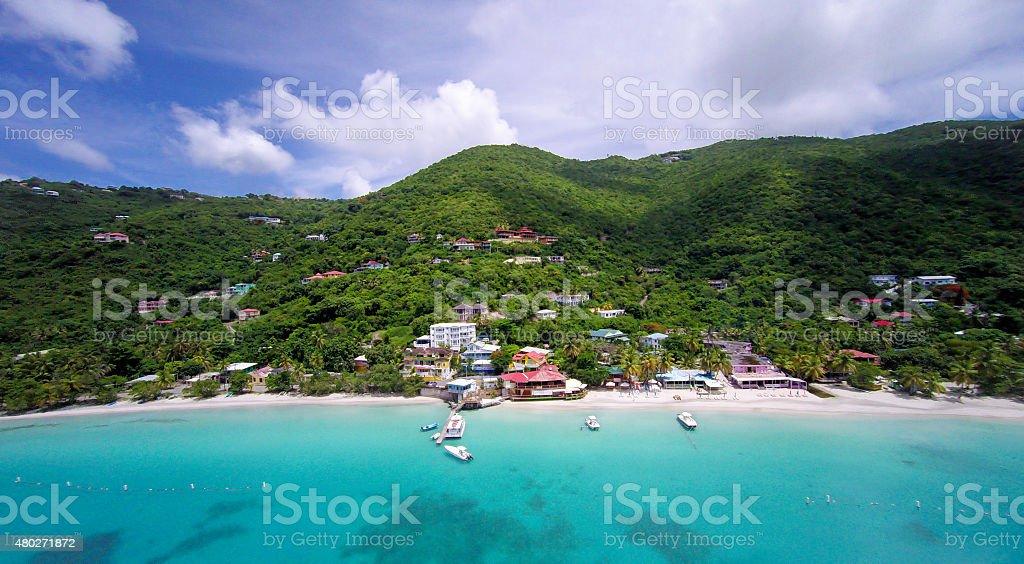 aerial panoramic view of Cane Garden Bay, Tortola, BVI stock photo