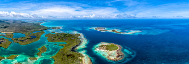 Aerial panoramic view of Caribbean Cays, Islands and the coastline stock photo