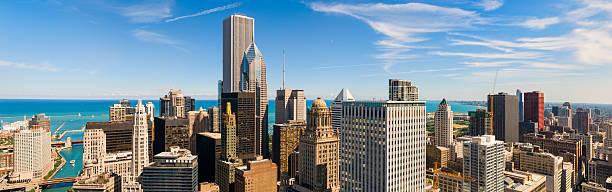 Aerial Panoramic View of Chicago and Lake Michigan stock photo