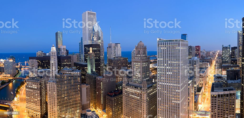 Aerial Panoramic View of Chicago at Dusk (XXXL) stock photo