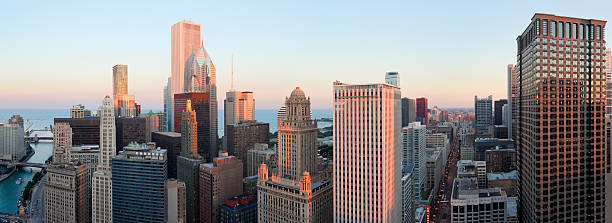 Aerial Panoramic View of Chicago at Sunset (XXXL) stock photo