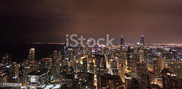 Aerial panoramic view of Chicago skyline at night, Illinois, USA