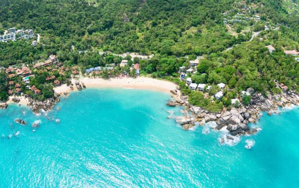 Aerial panoramic view of Coral Cove beach, Koh Samui Island, Thailand stock photo