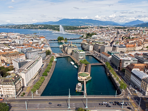 Aerial panoramic view of Geneva with fountain and lake Leman in the background, Switzerland