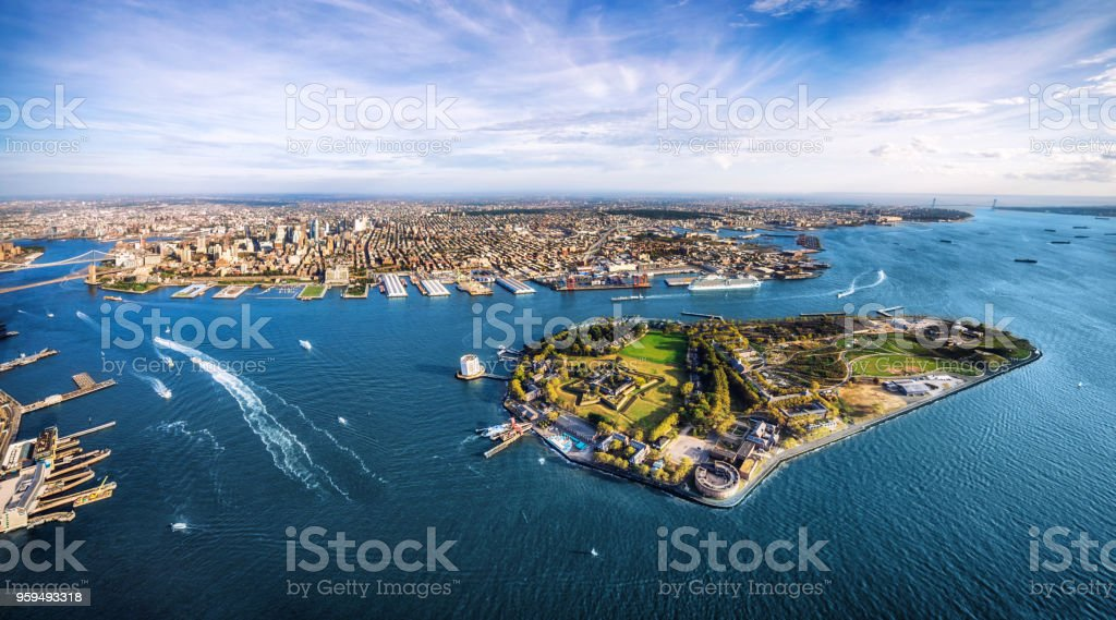 aerial panoramic view of Governors island and Brooklyn. New York. USA stock photo