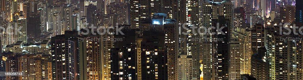 Aerial Panoramic View of Hong Kong High-Rises at Night stock photo