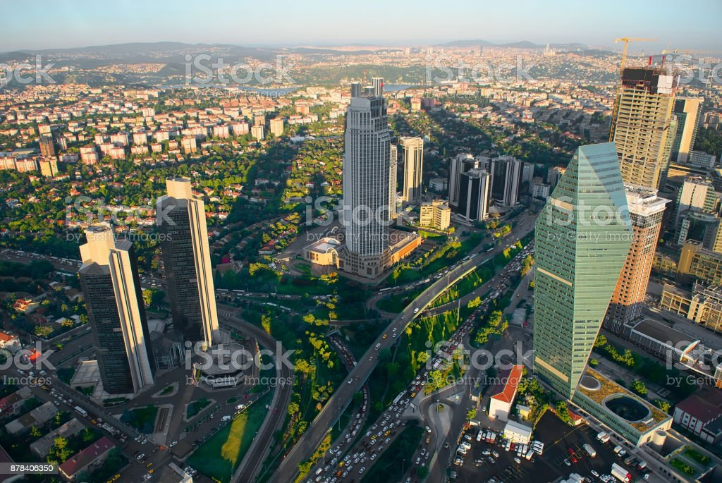 Aerial panoramic view of Istanbul stock photo