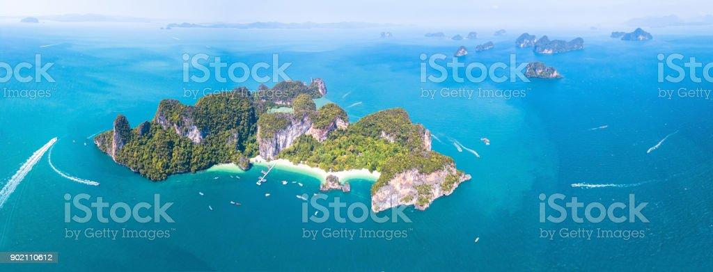 Aerial panoramic view of Ko Hong island, Krabi, Thailand, archipelago stock photo