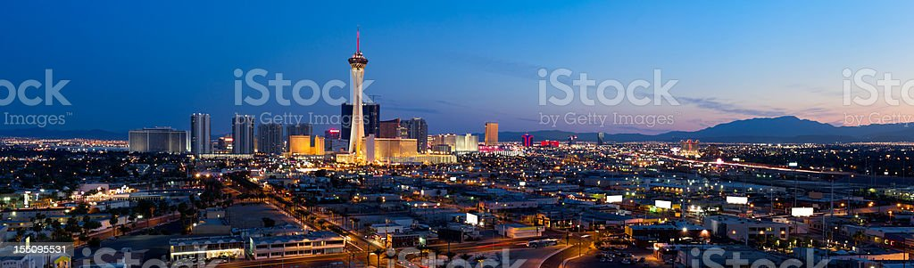 Aerial Panoramic View of Las Vegas at Dusk stock photo
