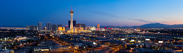 Aerial Panoramic View of Las Vegas at Dusk stock photo