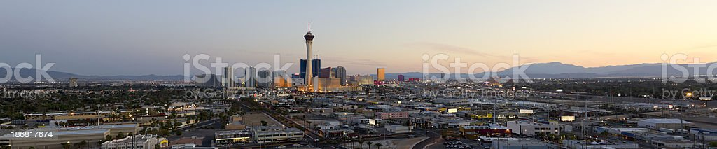 Aerial Panoramic View of Las Vegas at Sunset royalty-free stock photo