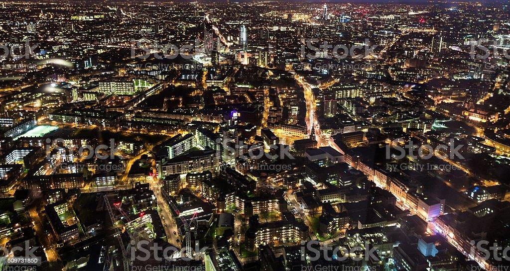 Aerial Panoramic view of London illuminated at night stock photo