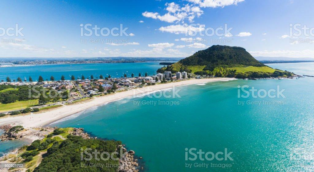 Aerial Panoramic view of Mt Maunganui coastline. stock photo