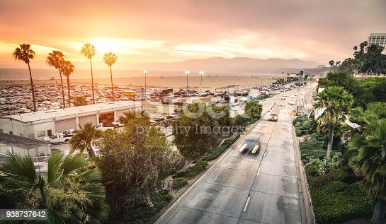 Aerial panoramic view of Ocean Ave freeway in Santa Monica beach at sunset - City streets of Los Angeles and California state surrounds - Warm twilight color filter tones with dark vignetting (logos removed)