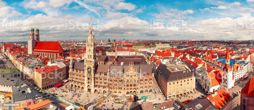 Aerial panoramic view of Old Town, Munich, Germany stock photo