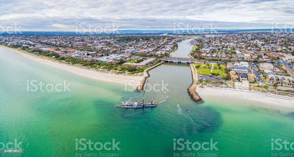 Aerial panoramic view of Patterson River mouth and Bonbeach suburb with coastline in Melbourne, Australia stock photo