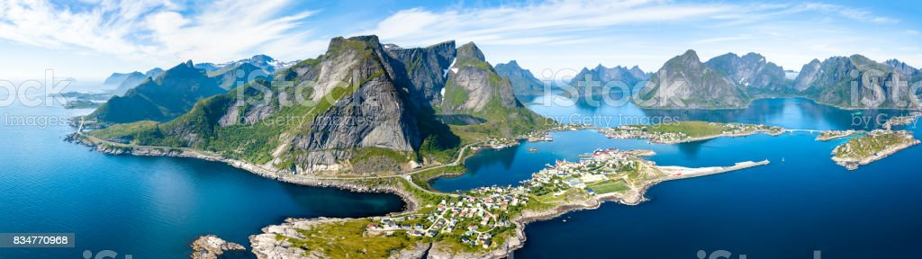 Aerial panoramic view of Reine, Lofoten, Norway, sunny arctic summer stock photo