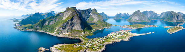 aerial panoramic view of reine, lofoten, norway, sunny arctic summer - fjord stock photos and pictures