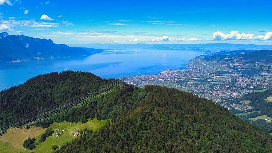 Aerial panoramic view of Riviera Vaudoise