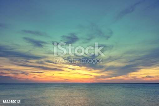 istock Aerial panoramic view of sunset over ocean 863569012