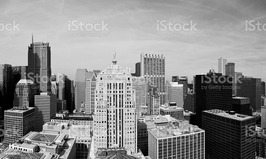 Aerial Panoramic View of the Chicago Loop stock photo