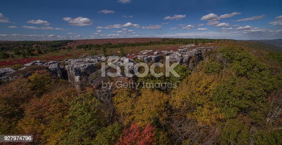 istock Aerial Panoramic View of the Dolly Sods Wilderness and Bear Rocks in West Virginia's Monongahela State Park in the Fall 927974796