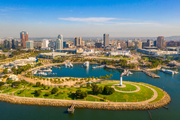 Aerial panoramic view of the Long Beach coastline Aerial panoramic view of the Long Beach coastline, harbour, skyline and Marina in Long Beach with Palm Trees,. Beautiful Los Angeles. long beach california stock pictures, royalty-free photos & images