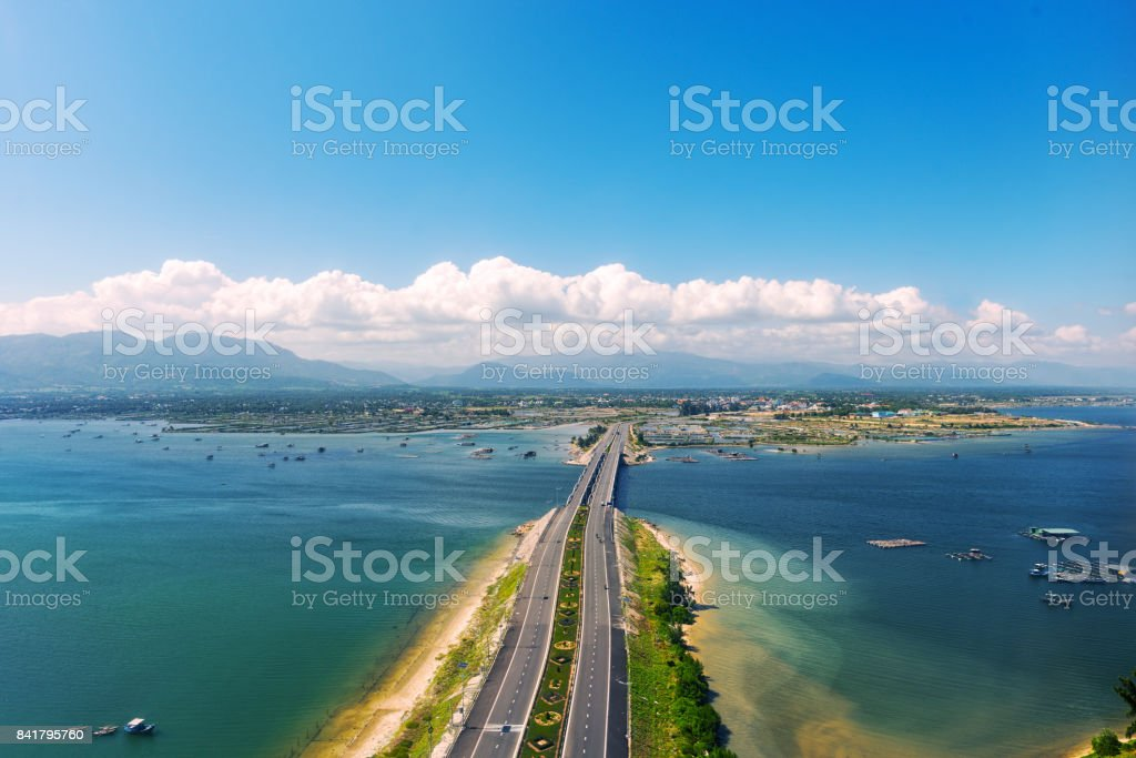 Aerial panoramic view of the road and the bridge stock photo