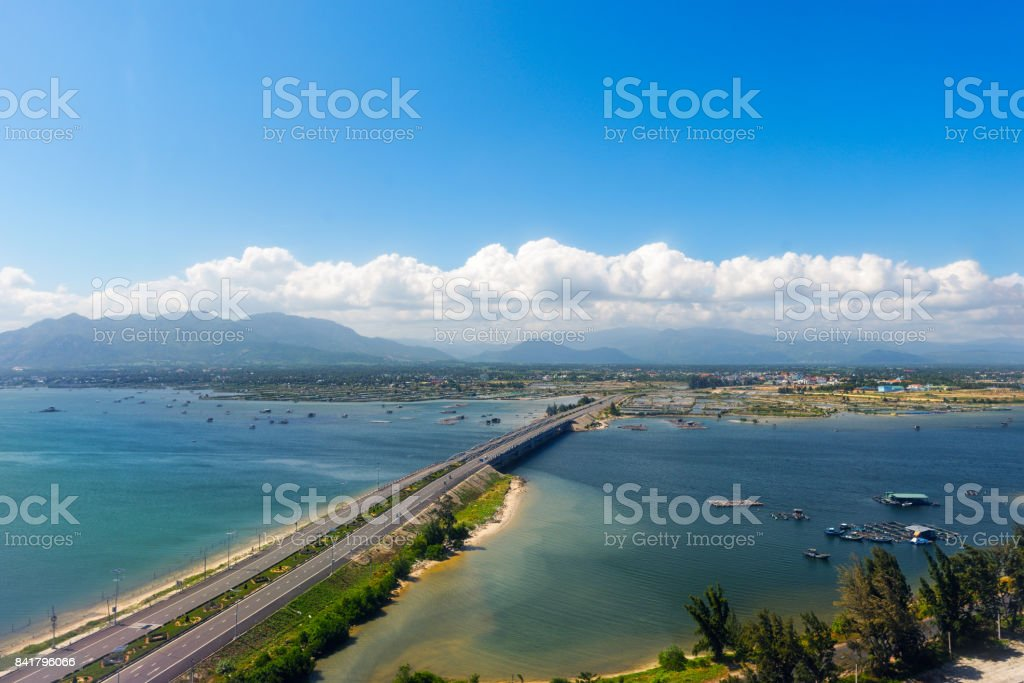 Aerial panoramic view of the road and the bridge. stock photo