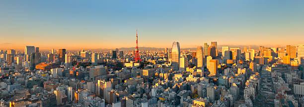 Aerial Panoramic View of Tokyo at Sunrise (XXXL) stock photo