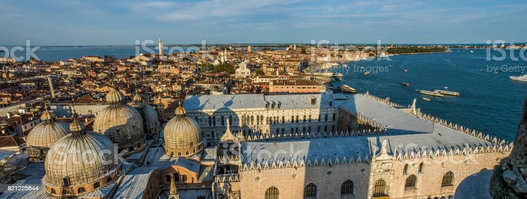 Aerial panoramic view of Venice at dusk stock photo