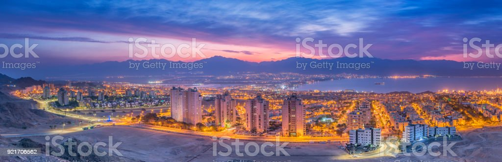 Aerial panoramic view on Eilat (Israel) and Aqaba (Jordan) stock photo