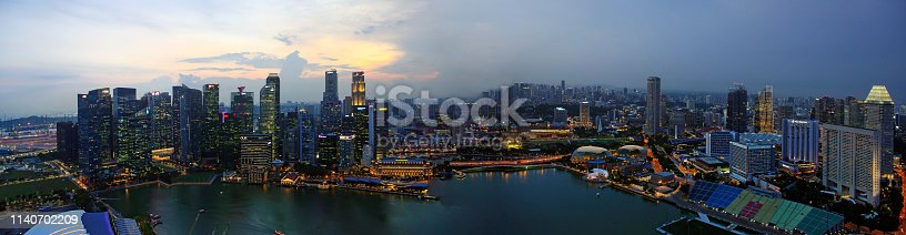 Aerial Panoramic View Over Singapore at dusk
