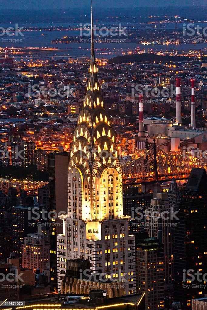 Aerial panoramic view over upper Manhattan stock photo