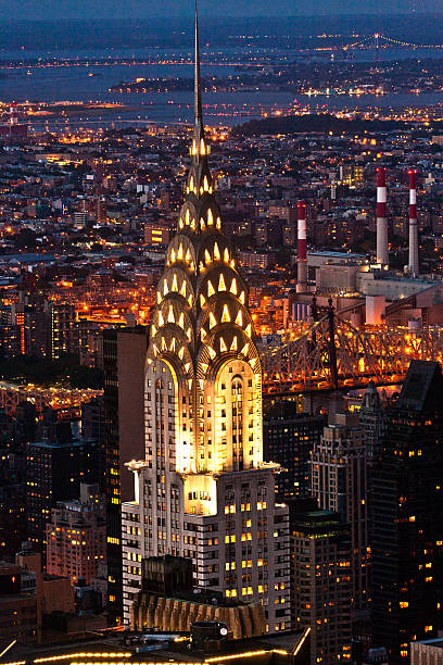 aerial panoramic view over upper manhattan - chrysler building stock photos and pictures