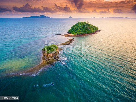 Aerial panoramic view from cliff on pakmeng beach south of thailand near krabi