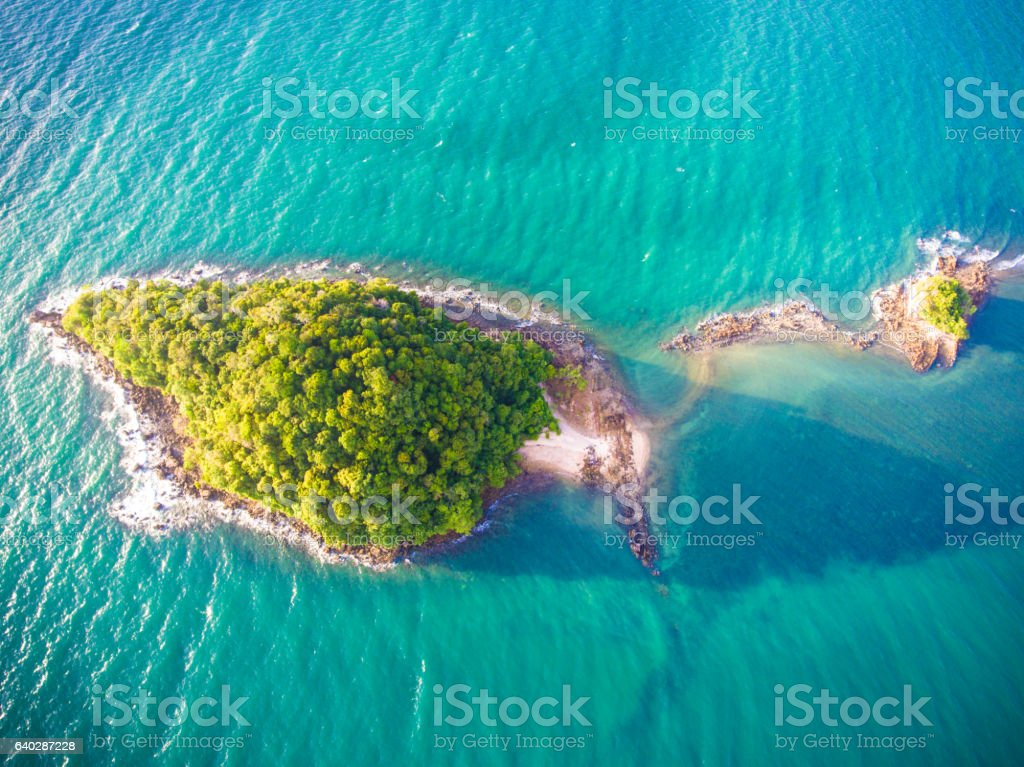 Aerial panoramic view  pakmeng beach of thailand near krabi stock photo