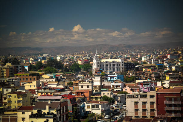 Aerial panoramic view to Antananarivo, capital of Madagascar stock photo