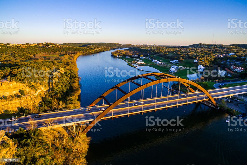 Aerial Pennybacker Bridge at Sunset Austin Texas Hill Country stock photo