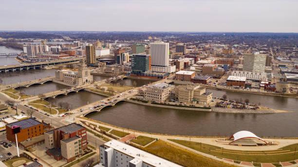 Aerial Perspective of Cedar Rapids Iowa Urban Waterfront stock photo