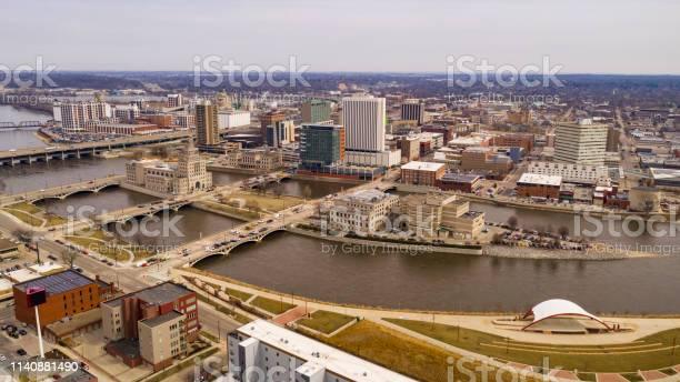 Photo of Aerial Perspective of Cedar Rapids Iowa Urban Waterfront