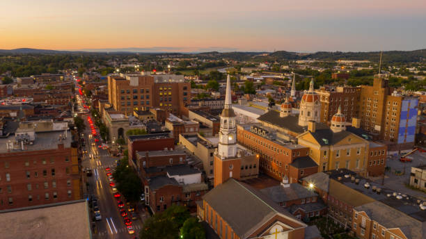 Aerial Perspective Over Downtown City Center York Pennsylvania at Sunset stock photo