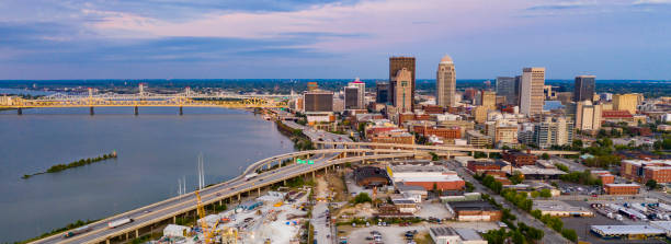Aerial Perspective over Downtown Louisville Kentucky on the Ohio River stock photo
