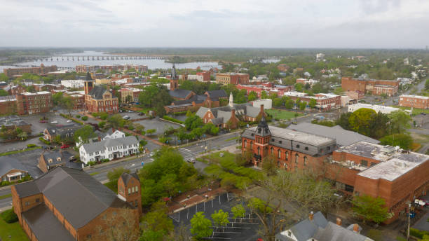 Aerial Perspective over the Downtown Urban City Center of New Bern NC stock photo